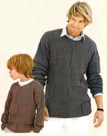 Мужской и детский пуловер в клетку