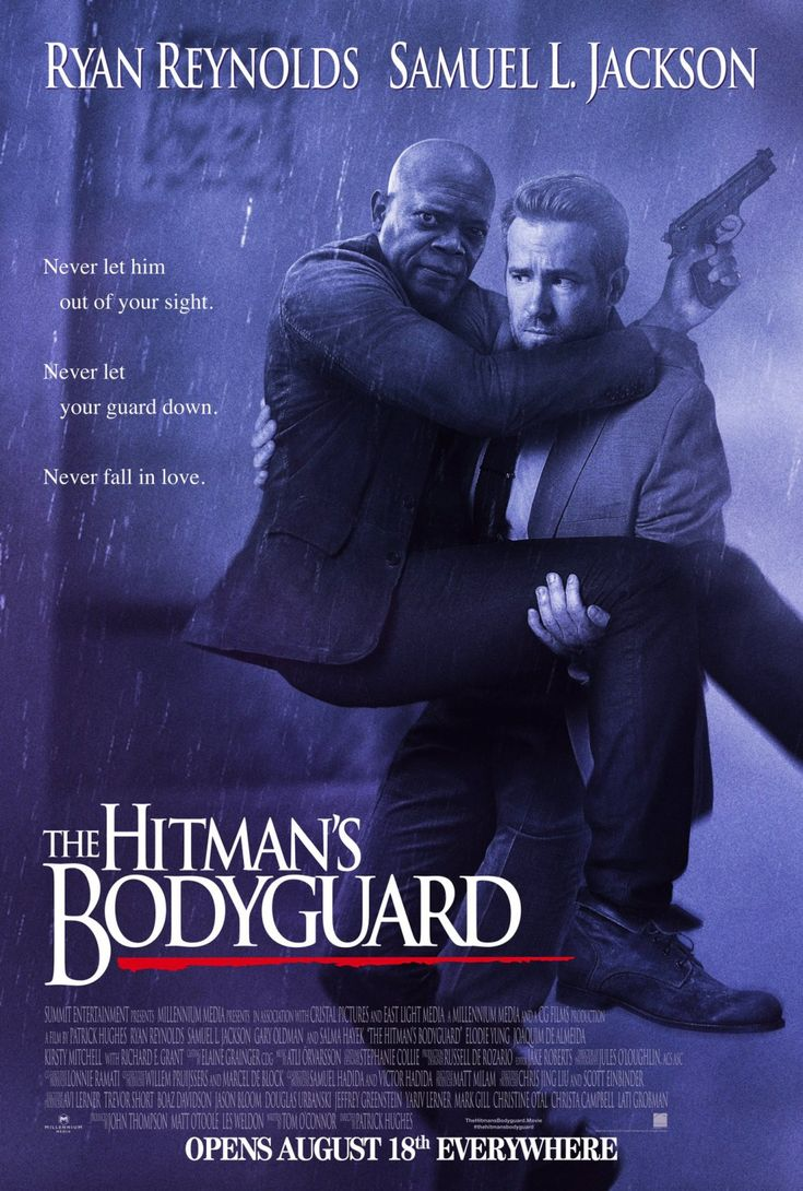"The Hitman's Bodyguard (2017)  tagline: ""Never let him out of your sight. Never let your guard down. Never fall in love.""  directed by: Patrick Hughes  starring: Ryan Reynolds, Salma Hayek, Gary Oldman, Elodie Yung"