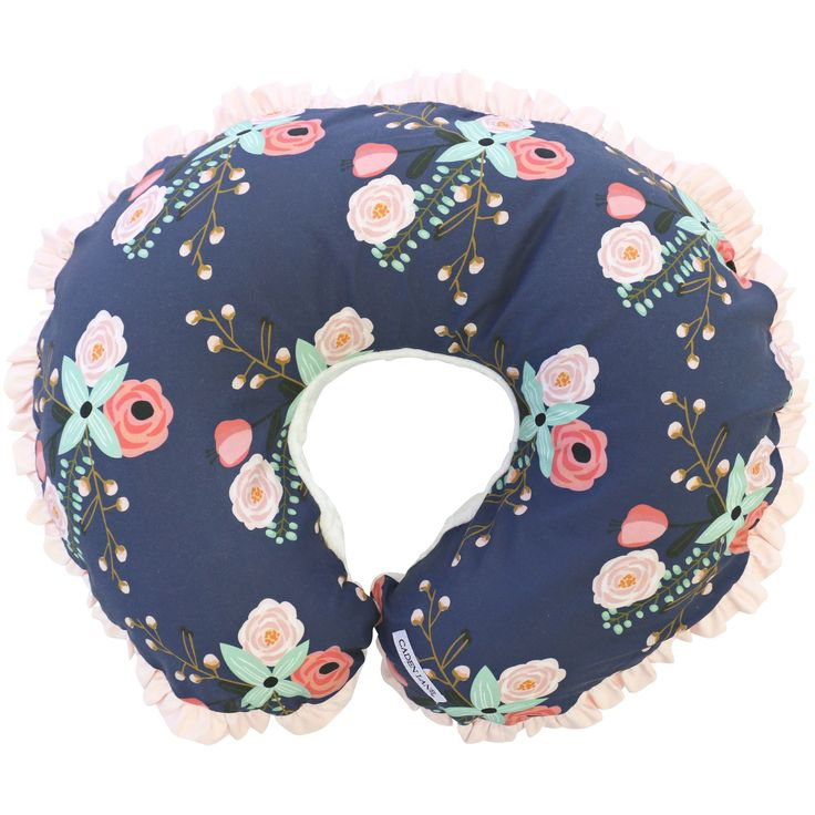 This nursing pillow cover comes in a fun and modern blush pink, coral and navy floral print with a super soft minky back and a coordinating blush pink ruffle trim. Our Berkeley's Navy & Blush Floral N