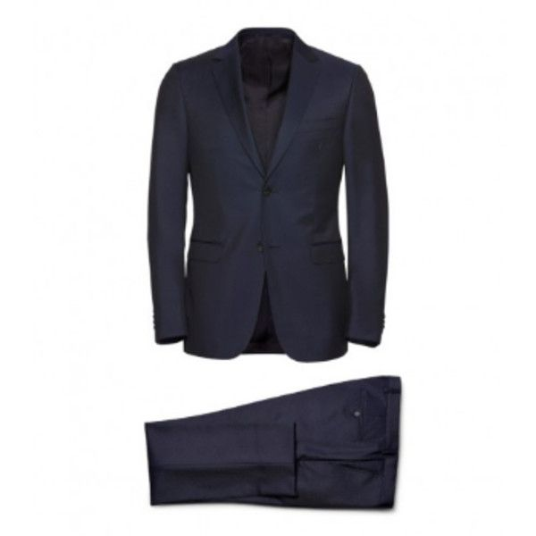 Navy Blue Wool & Mohair Suit (1,367,470 KRW) ❤ liked on Polyvore featuring men's fashion, men's clothing, men's suits, merino wool mens clothing, mens slim fit suits, mens navy suit, mens wool suits and mens shiny suits