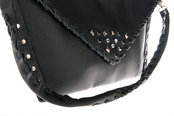 black leather purse bag by ElenLovelyCollection on Etsy, €75.00