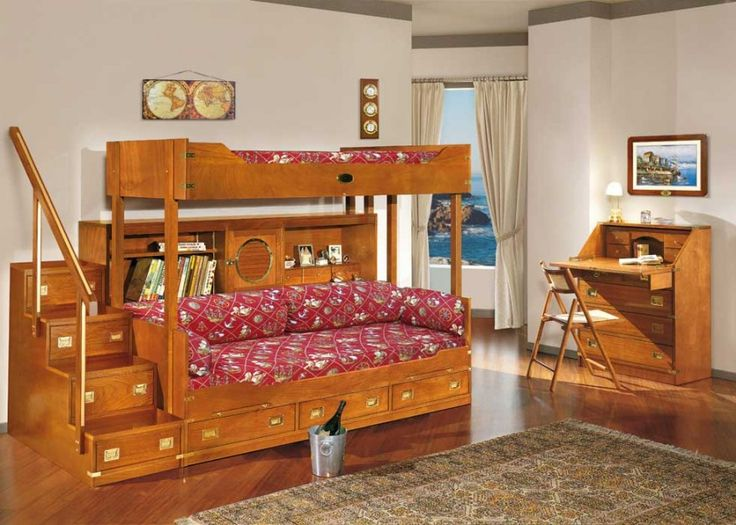 awesome bunk beds with red breadspread for kids bedroom picture - Bedroom Ideas For Children