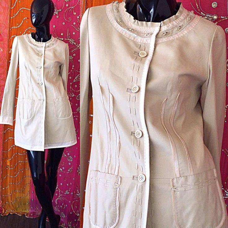 Elie Tahari Jacket Leather Embroidered Floral Leather Coat  | eBay