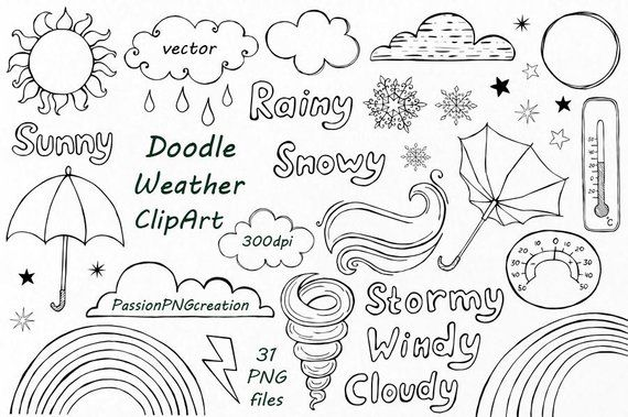 Doodle Weather Clipart, PNG, vector, EPS, AI, hand drawn