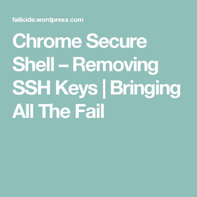Chrome Secure Shell – Removing SSH Keys   Bringing All The Fail
