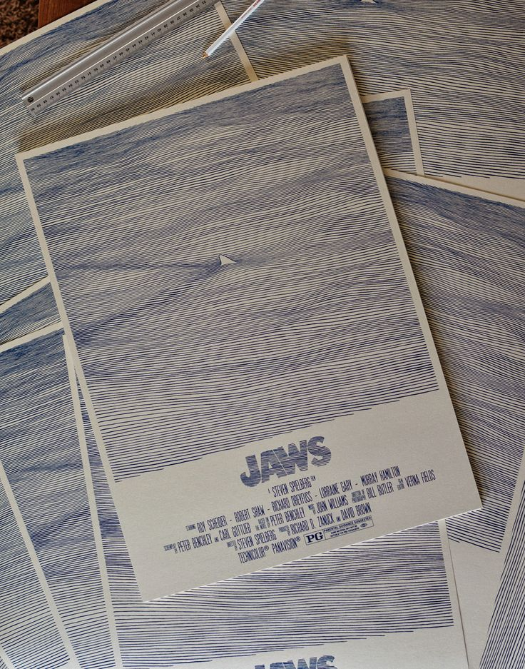 """""""Jaws"""" art tribute poster created to pay homage to one of the first films which really terrified me. 1 colour screen print printed on 230gr Stardream metallic paper"""