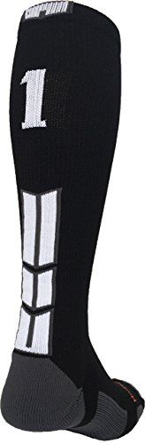 MadSportsStuff Player Id Custom Number Over The Calf Sock  BUILD YOUR CUSTOM JERSEY NUMBER: By selecting one sock for each foot, you can build your very own player number. For example: if you are #1, choose a 0 and a 1 or a blank and a 1. If you are #33, chose 2 #3 socks. These socks are perfect for basketball, soccer, softball, baseball, field hockey, volleyball, football, lacrosse and make great team socks!  ACCURATE SIZING: Shoe Size: Small - Youth 2-6, Medium - Mens 6-9 or Womens 7...