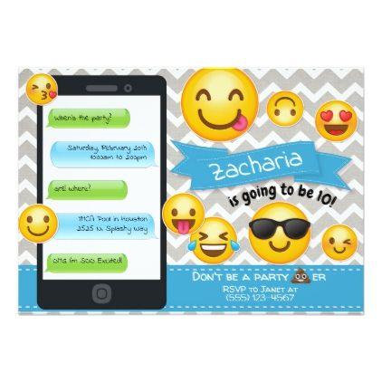 Emoji Party Birthday Invitations Blue Boys
