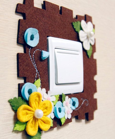 DIY 3D Flower Light Switch Cover | Precut Non-Woven Fabric DIY Project | Craft Kit Pattern & Supply by NaturalbeautyDIY on Etsy