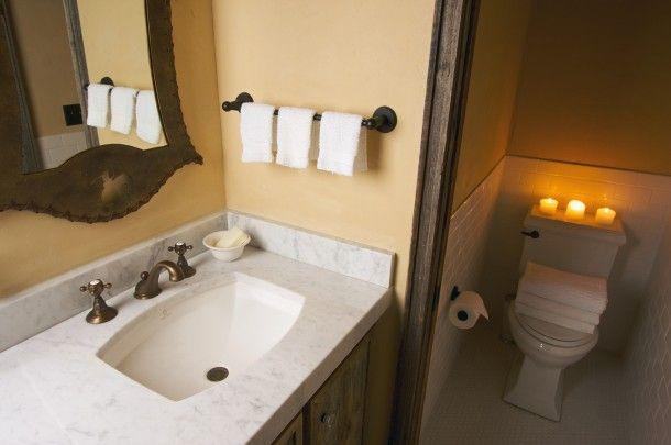 Rusztikus pasztell fürdőszoba