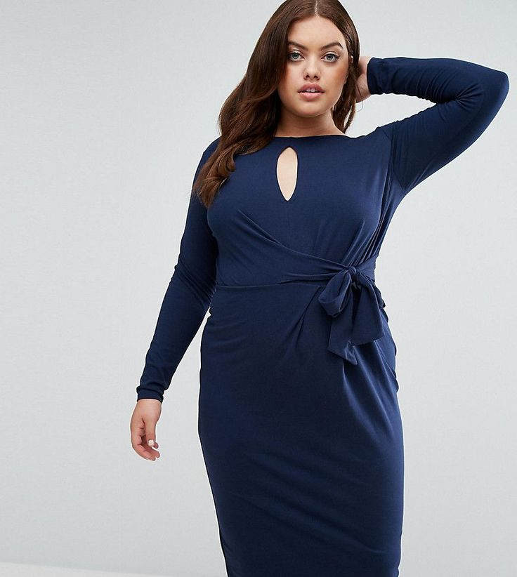 ASOS CURVE Tie Side Long Sleeve Dress With Plunge Midi - Navy