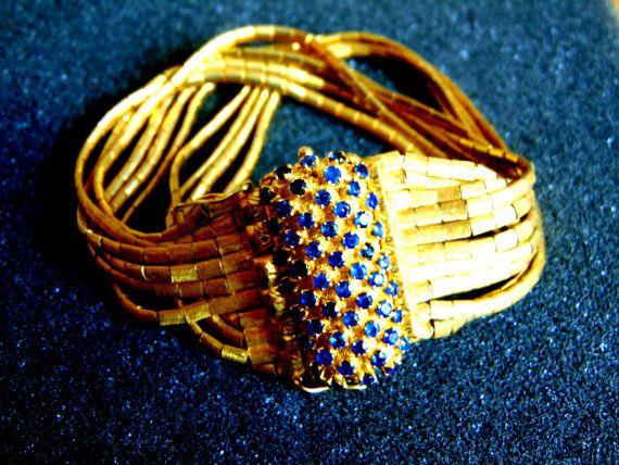 By Archipelagos breeze.  18 k Gold Armband, Vintage Gold 750 Saphir-Armband, antike Womens Solid Goldarmband, Saphir-Schmuck, Artisan Schmuck, griechische Kunst