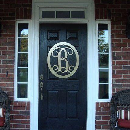 Monogram Door Hanger, Monogram Door Wreath, Personalized Gift, Home Decor, Metal Sign, Wall Hanging, Outdoor Wreath, Wedding Gift, by HouseSensationsArt on Etsy https://www.etsy.com/listing/212110086/monogram-door-hanger-monogram-door