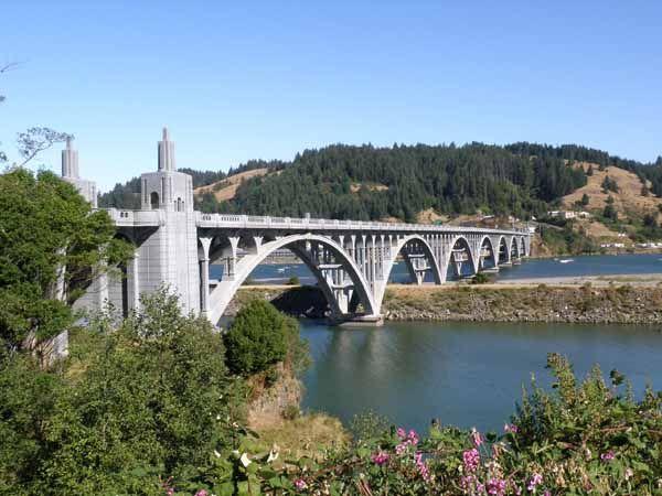 Rouge River Bridge, Gold Beach, Oregon - Rouge River outlet