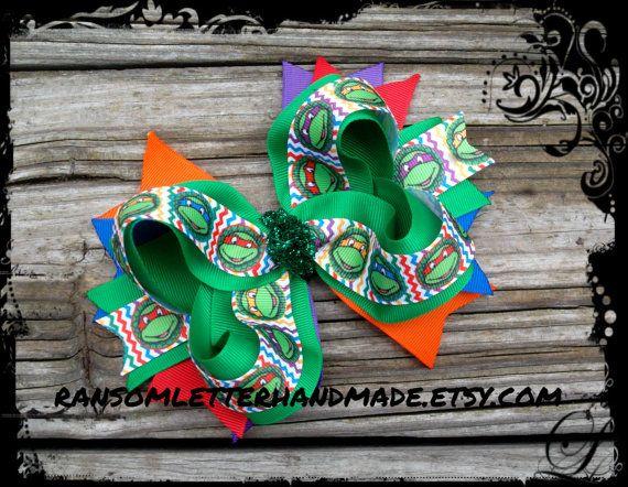 Girls Ninja Turtle Hair Bow TMNT Green by ransomletterhandmade