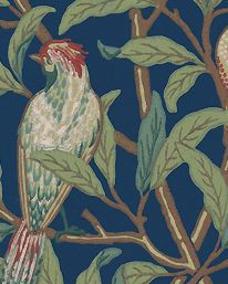 Tapet Bird & Pomegranate Blue/Sage från William Morris & Co