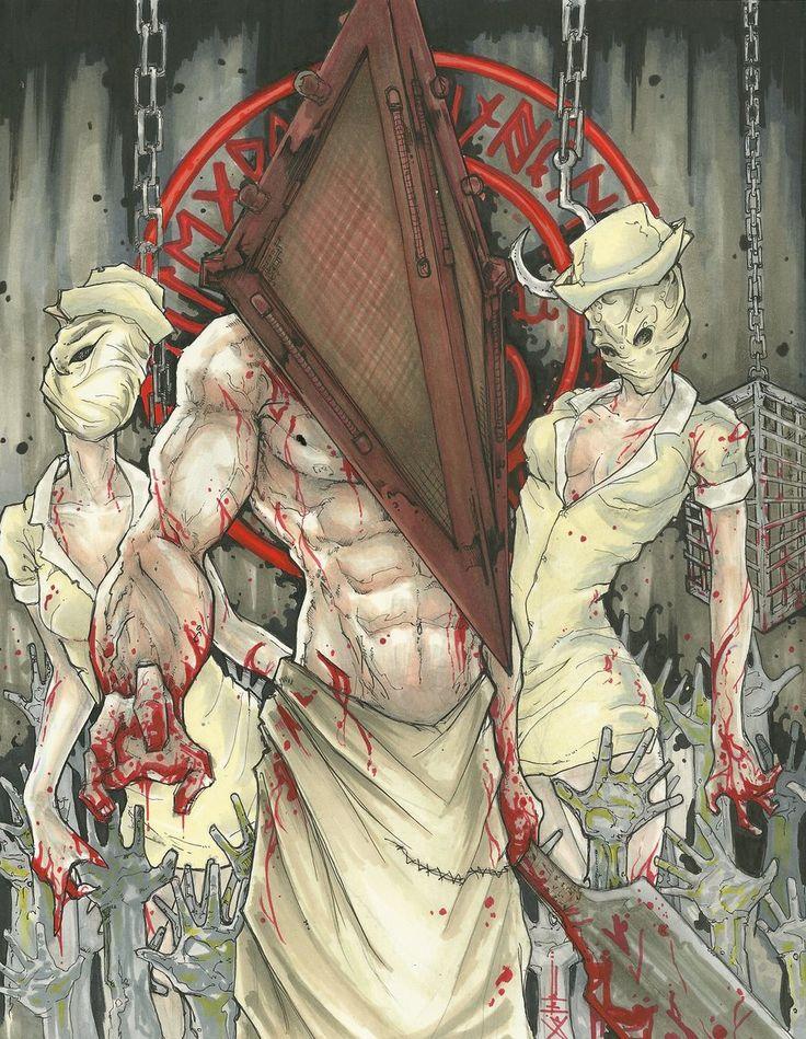 Pyramid Head  and Nurses Silent Hill by ChrisOzFulton.deviantart.com