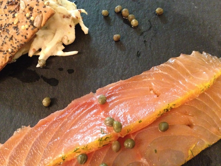 Home-cured Gravalax using Benromach Peatsmoke Whisky with Celeriac Remoulade