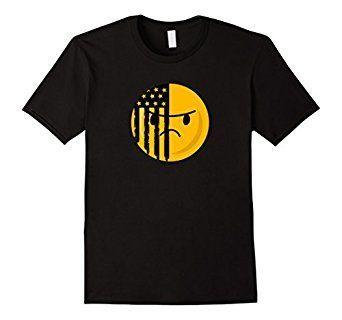 Amazon.com: Grunge Style American Flag Face Emoticon Emoji T-shirt: Clothing