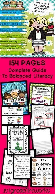 This is a HUGE Resource BINDER(Binder NOT included) 154 pages are in a zip file.. All of the pieces needed to create a BALANCED LITERACY classroom are included. Descriptors, samples, pictures, and resources are included.Printables in color & B/W.Read Alou