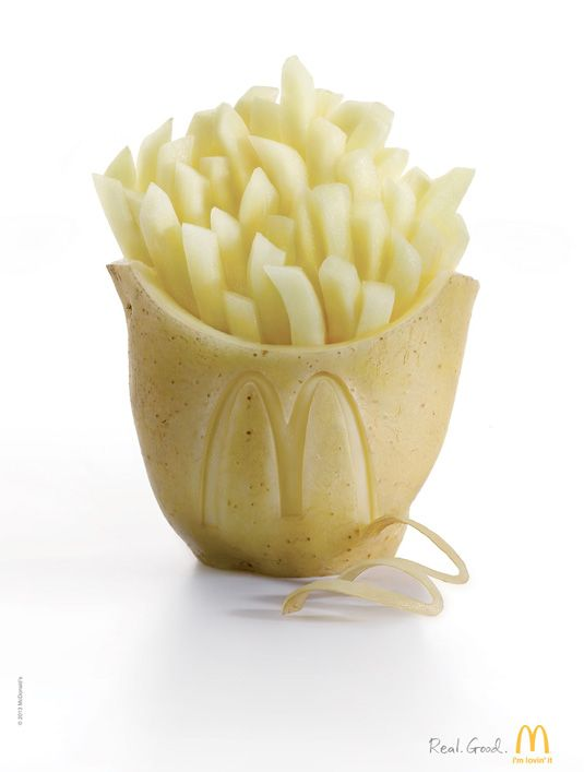 The eye-catching design, created by TBWA Shanghai,  features a box of fries, carved from the very ingredient from which they're made.