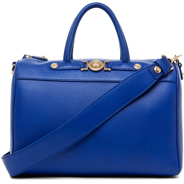 VERSACE Calf Leather Handbag in Blue (1,395) liked on Polyvore