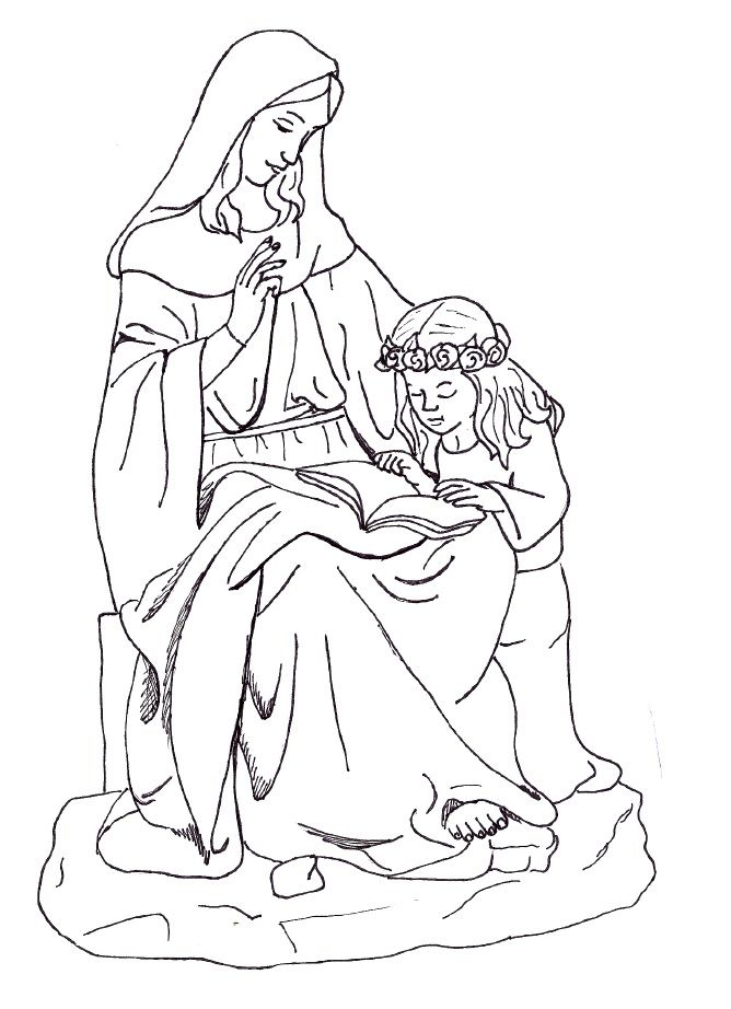 st  anne  young our lady coloring page