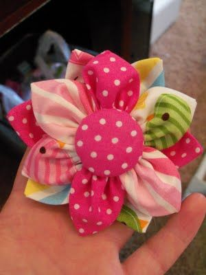 Our Little Life...: Fabric Flower Tutorial - cute idea and simple to understand.