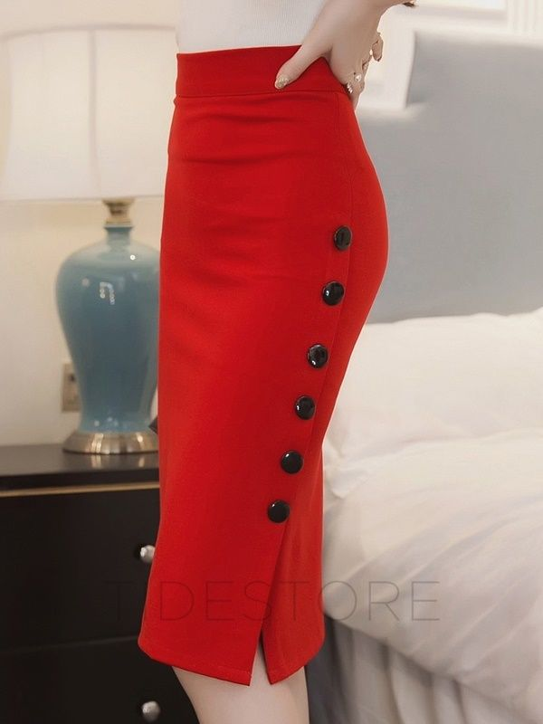 Button High-Waist Placketing Slim Long Skirt