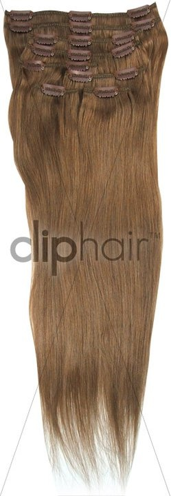Full Head Clip in hair Extensions - Colour #8 ( Medium Ash Brown)    Product Link: http://www.cliphair.co.uk/Medium-Ash-Brown-Hair-Extensions-8/