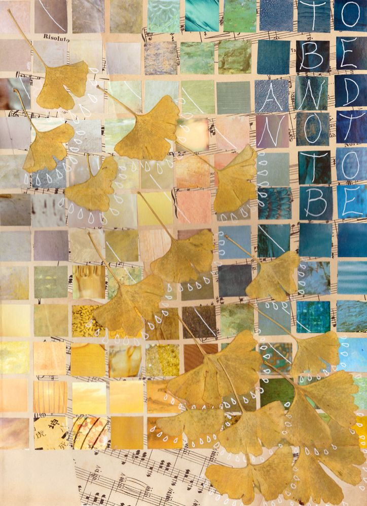 mixed media 70 collage, ginkgo biloba blaadjes, posca stift