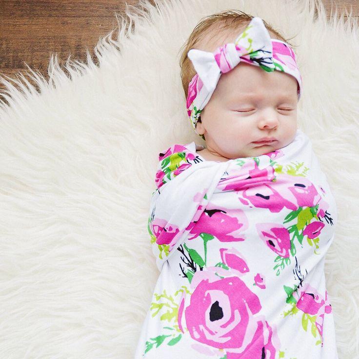 Fuchsia Poppy Swaddle Blanket and Headband Set