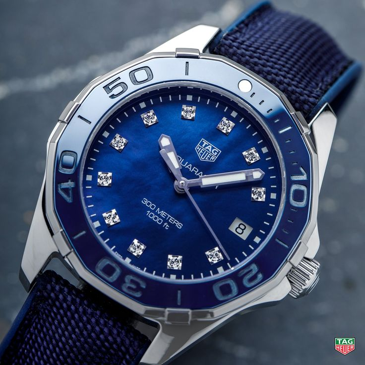 TAG Heuer  Whether accompanying you on your next dive or party, the TAG Heuer Aquaracer Lady Blue Diamonds is here to shine! http://tag.hr/AquaracerLadyB