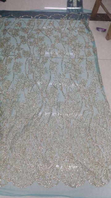 @isabellegeneva Блеск ручной печати сетки CGL-82770 африканские индии кружевной ткани для свадьбы/вечернее платье