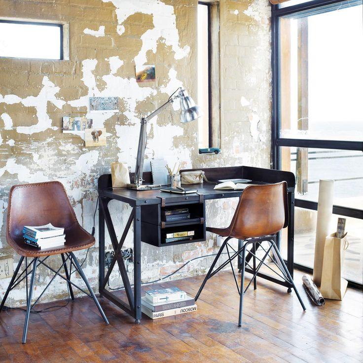 Silla industrial de cuero y metal marrón Austerlitz | Maisons du Monde