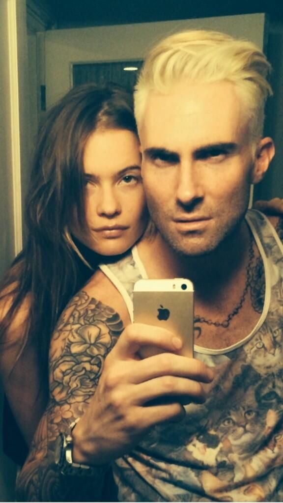Adam Levine Shows Off His New Blonde 'Do' on Twitter with fiance Behati Prinsloo beside him. [May 2014]