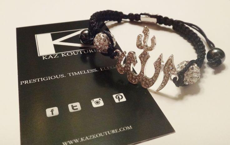 KAZ KOUTURE: Crystal Allah Chord Bracelet #kazkouture #fashion #bracelet  #jewelry #accessories #armcandy #princess #fashionista #turkish #arabiccalligraphy #muslimfashion #abaya #hijabi #hijab #arabfashion #scarf #muslim