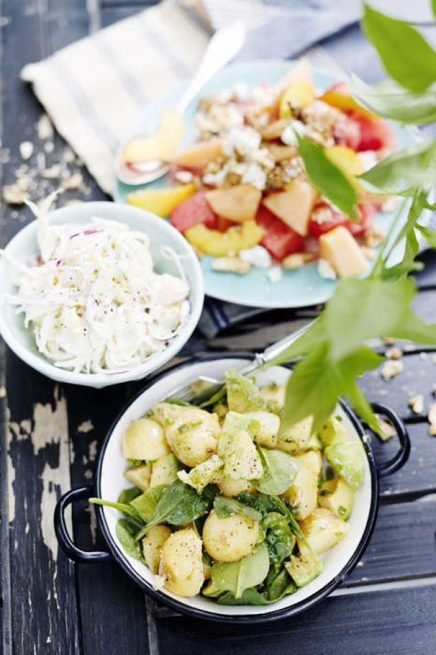 Nektarin- och melonsallad med fetaost och valnötter - Mitt kök