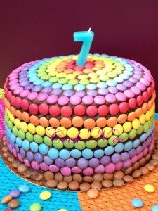 Rainbow cake (nutella, smarties)