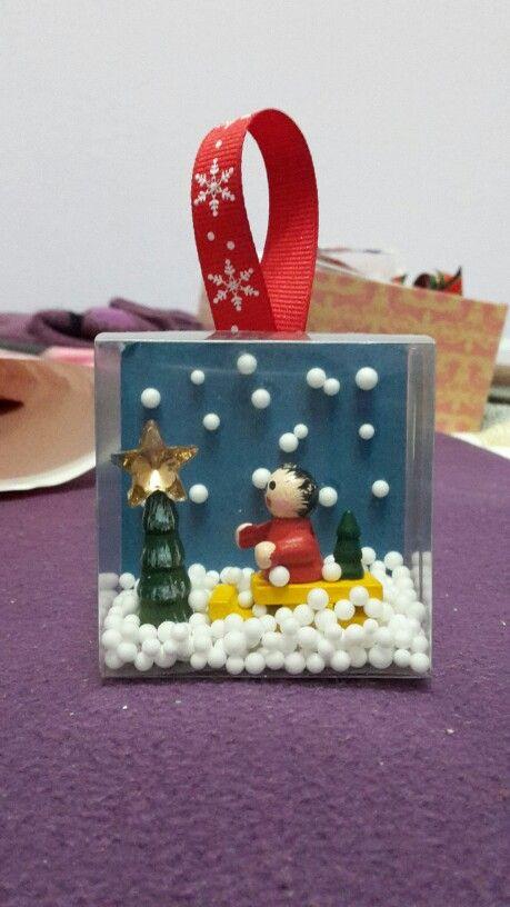 DIY Alternative mini snow globe ornament #christmas #ornament