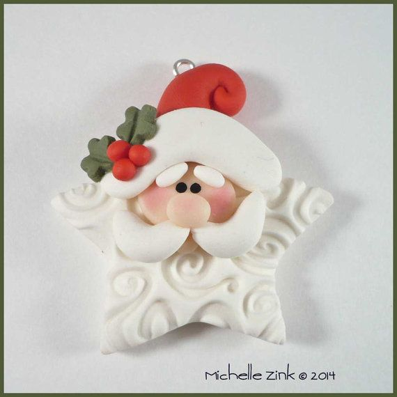 Polymer Clay Star Shaped Santa Claus Bead by michellesclaybeads