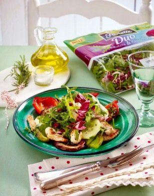Gemüse-Salat mit Putenstreifen