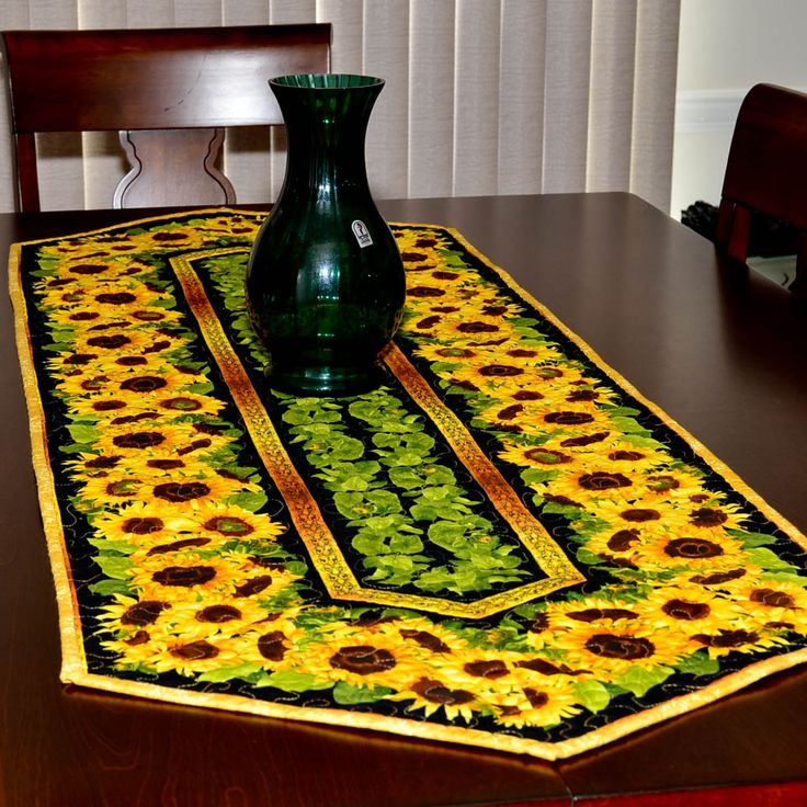 Table Runner   Quilted   Sunflower Table Runner By KTMaesEclecticMix On Etsy