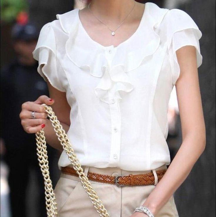 Шикарная, элегантная приталенная оборки офисная, деловая бизнес блузка или топ или рубашка с коротким рукавом b4 | Одежда, обувь и аксессуары, Одежда для женщин, Топы и блузы | eBay!