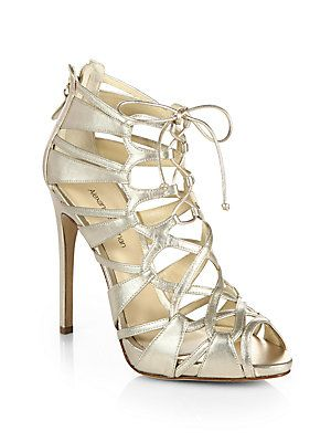 Alexandre Birman Strappy Metallic Leather Lace-Up Sandals