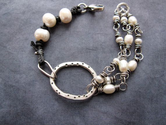 Waxed Linen and Pearl Bracelet by teresamatheson on Etsy