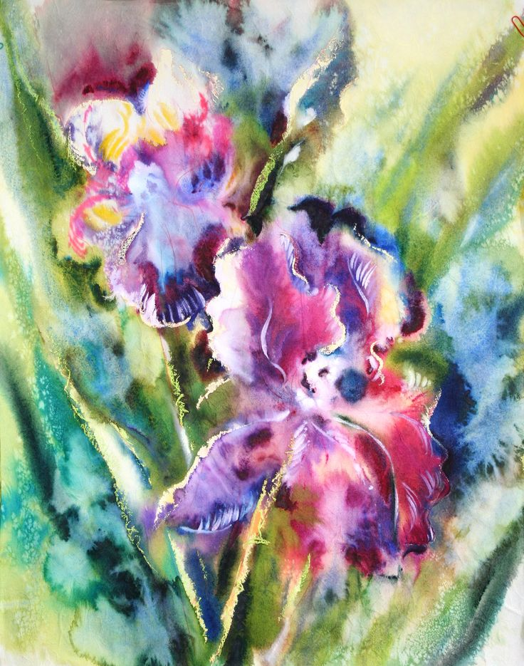 Olga Vinnitskaya. Iris auf Japanpapier mit Aquarell, Tinte und Glycerin.