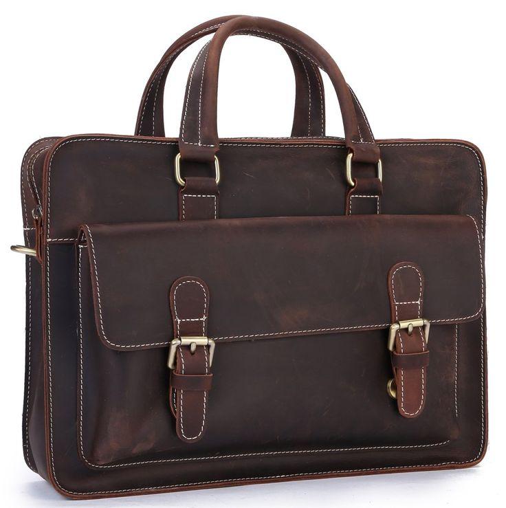 Men's Vintage Genuine Leather Shoulder Bag Laptop Briefcase #Business Office #Bag A04