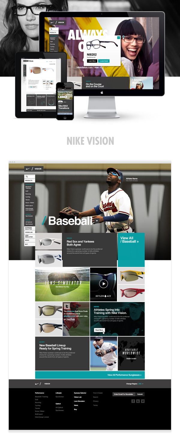 Nike Vision by drew cone, via Behance // i like the diagonal color-blocking/transparencies over the image for the hero shot