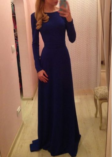 Amazing Long Sleeve Blue Round Neck High Waist Dress - USD $21.28